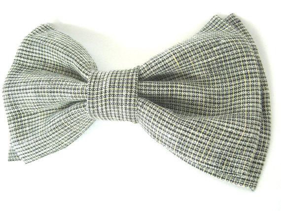 زفاف - Dog Bow Tie  Grey Linen Bow tie bow tie for dog dog collar accessory