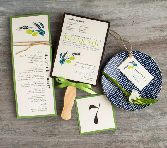 "Wedding - Brewery Wedding Menu, Table Numbers, Favor Tag, Ceremony Fans, Customizable Wording, Colors, Fonts - ""Hops Love"" Stationery Deposit"