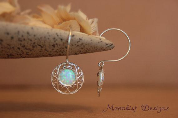 Opal Filigree Earrings In Sterling Silver Bridal Jewelry Dangle Drop October Birthstone