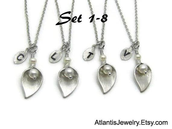 زفاف - SALE 15% OFF: Bridesmaid Gift Necklace Personalized Necklace Personalized Jewelry Weddings Bridal Necklace Wedding Jewelry Message Card