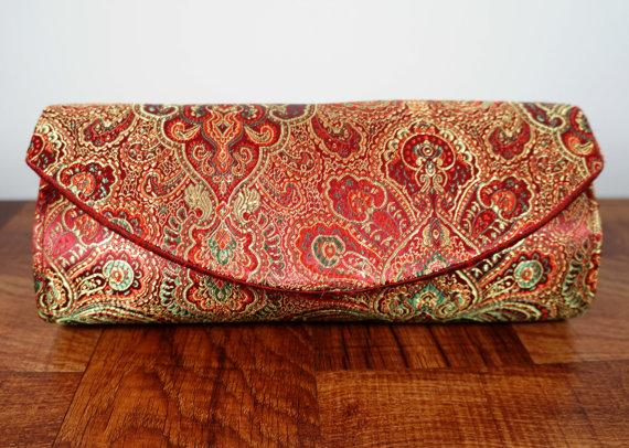 Red And Gold And Green Brocade Clutch Bag. Paisley Design Red Clutch Burgundy Indian Wedding ...