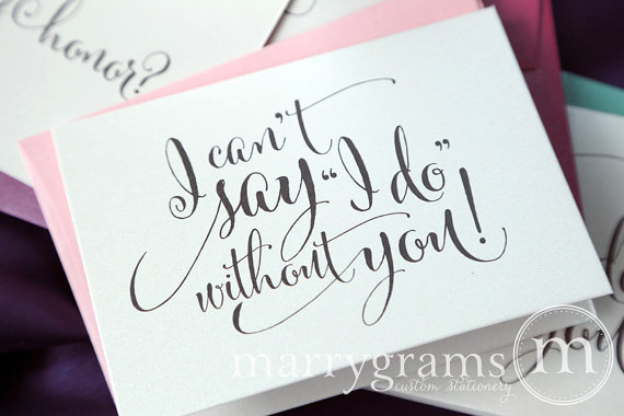 Wedding - Will You Be My Bridesmaid Cards I Can't Say I Do Without You Maid of Honor, Wedding Party- Pink Cute Card to Ask Bridesmaid -CS07 (Set of 6)