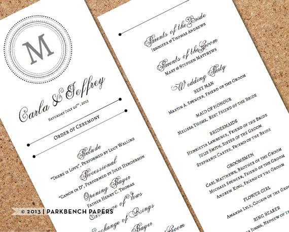 Свадьба - Wedding Program - Classic Monogram Style - DIY Editable Word Template, Instant Download, Printable, Edit your text & Print at Home