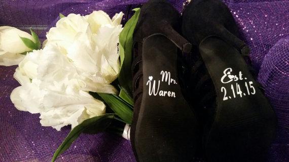 Mariage - Wedding Shoe Decals, Wedding Day Photo Prop Bride Shoe Decal, Custom Wedding Shoe Decals