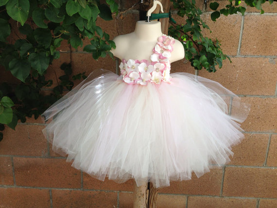 Mariage - Flower Girl Dress, Tutu Dress, Blush Pink tutu dress, Hydrangea Flower tutu dress w/ONE STRAP