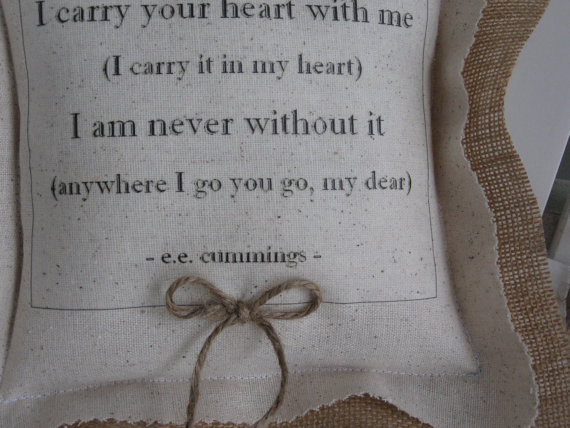 Mariage - I Carry Your Heart, Ring Bearer Pillows, ee cummings, Ring Pillows, Ringbearer Pillow, Rustic Wedding, Ring Pillows, Wedding Accessories