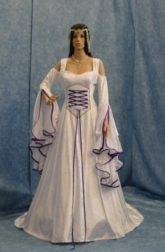 Renaissance Wedding Dress Meval Bridal Gown Handfasting Elven Custom Made