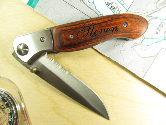 Knives Engraved Handles Wedding Engraved Wood Handle