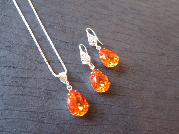Crystal Bridesmaid Jewelry Tangerine Swarovski Crystal Jewelry Set