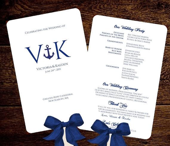 Wedding - Nautical Wedding FAN Program Fan Monogram Wedding Program Printable INSTANT DOWNLOAD diy Anchor Editable Change Colors Fonts Included
