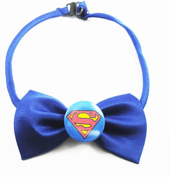 Свадьба - Superman Blue Bow Tie Justice League Superhero - Men's Boy's and Pet's Costume Wedding Formal