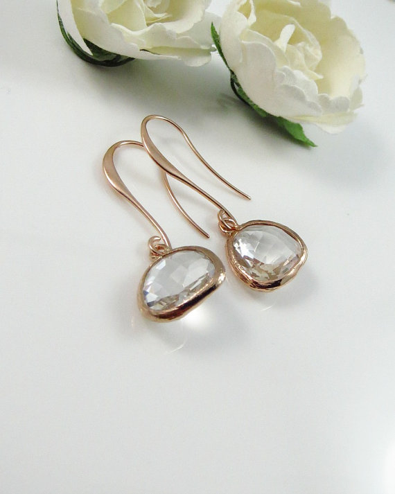 Mariage - Rose Gold Drop Earrings, Pink Gold Bezel Earrings, Dainty Dangle Earrings, Wedding Jewelry, Bridal Jewelry, Bridesmaid Gift, mothers earring