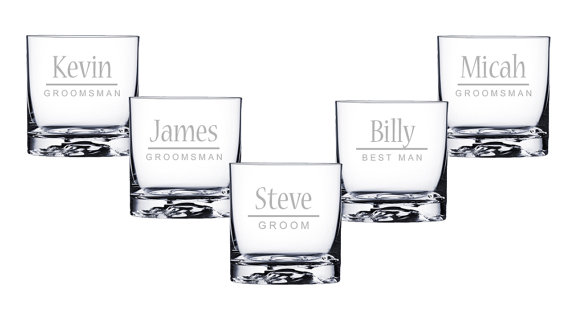 whiskey glasses groomsmen gifts rocks glasses engraved custom 16 designs select any quantity