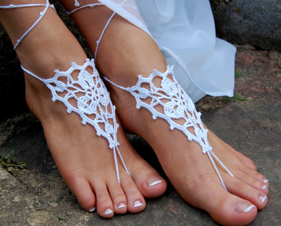 Свадьба - Crochet Barefoot Sandals, Beach Shoes, Wedding Accessories, Anklet, Nude Shoes, Bridal shoes, Pool shoes