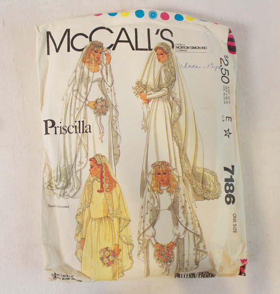 Свадьба - 1980 Priscilla Bridal Veil & Headpiece Vintage Pattern, McCalls 7186