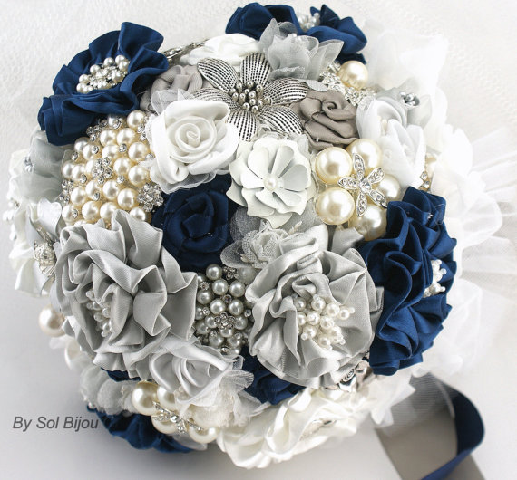 Brooch Bouquet Wedding Jeweled Bridal Navy Blue White Gray And