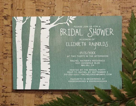 country birch tree bridal invitations bridal shower invitation wedding shower party invites printable digital pdf diy template printed