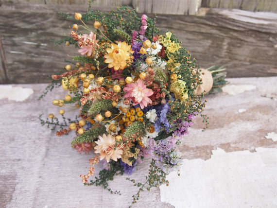 Mariage - Country CALICO Bridesmaid Dried Flower Bouquet - For a Rustic Country Wedding