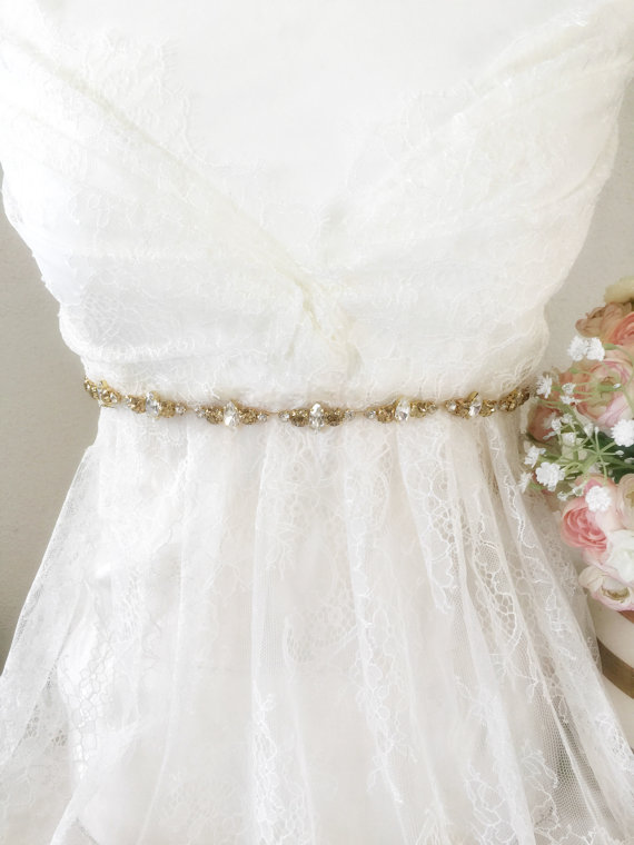 Свадьба - Wedding Bridal Gold Crystal Sash - Crystal Bridal belt