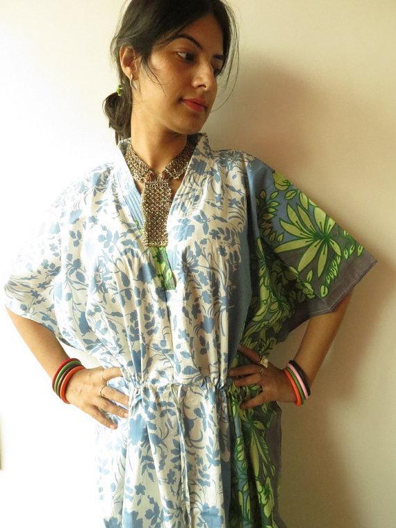 Свадьба - White Blue Leafy Kaftan - Pajamas to live in, beachwear Caftan, spa robe..make great Anniversary or Birthday gifts, new mom Gift