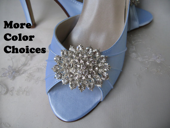 Mariage - Wedding Shoes Blue Bridal Shoes Crystal Bling Brooch -100 Additional Colors To Pick From