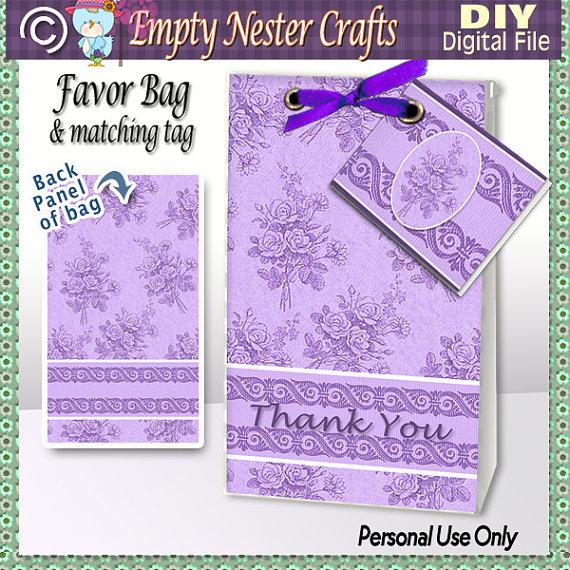 """Mariage - Printable Favor Bag, """"Bouquet in Lavender"""" Party Favor, gift box bag, gift tag, toppers, etsy instant download"""