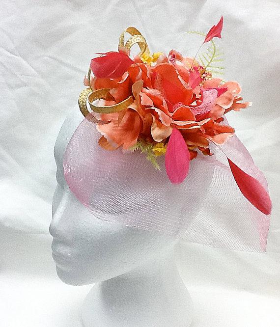Hochzeit - Fascinator coral fascinator hat salmon wedding hat watermelon feather fascinator HENRY