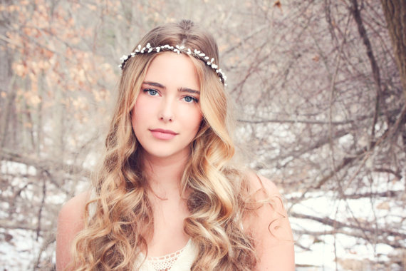 Mariage - woodland headband, woodland flower, berry branch, pip berries headband, wedding accessories, wedding headpiece, bridal headpiece