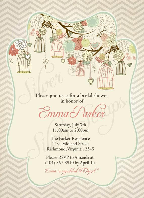 Birdcages Birds Chevron Custom Bridal Baby Shower Or