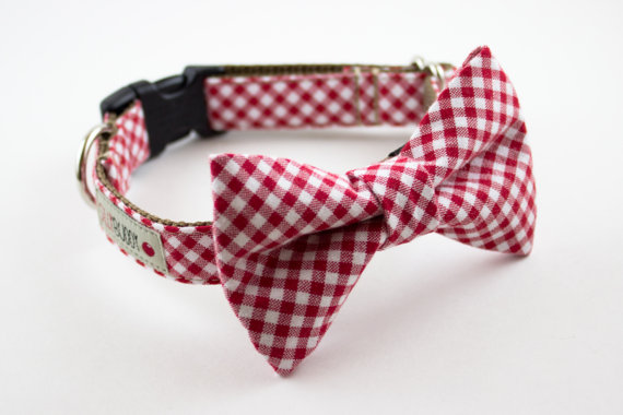 Свадьба - Red Gingham Bowtie Dog Collar