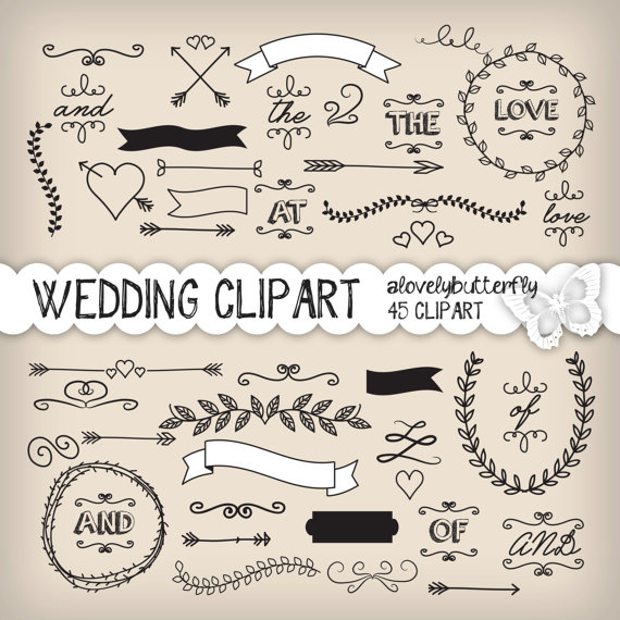 Wedding Laurel Clipart Wedding Invitation Digital Vintage Bridal