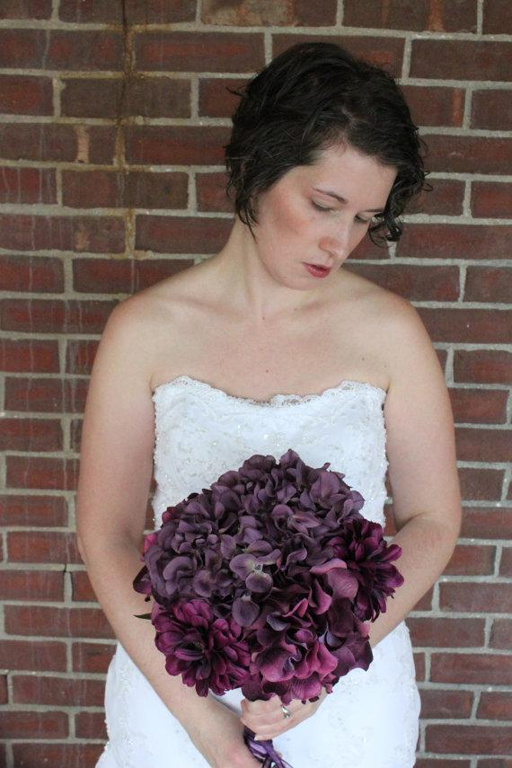 Свадьба - Purple Plum Hydrangea and Zinnia Bridal Bouquet Orchid Wedding Bouquet