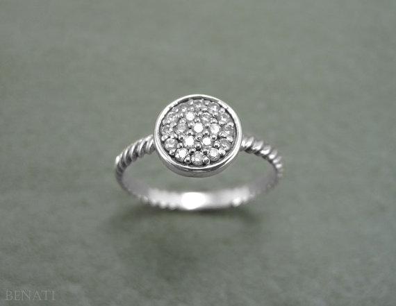 زفاف - SALE - Twisted Diamond Engagement Ring, Twisted Rope Engagement Ring, Twisted Knot Diamond Ring, Diamond Disc Ring, Infinity Diamond Ring