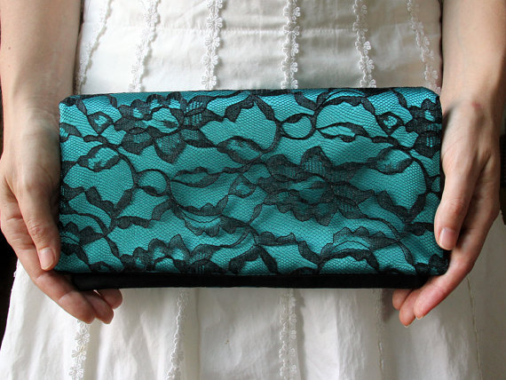 Свадьба - The LENA CLUTCH - Black Lace and Teal Satin Clutch - Wedding Clutch Purse - Bridesmaid Gift Idea