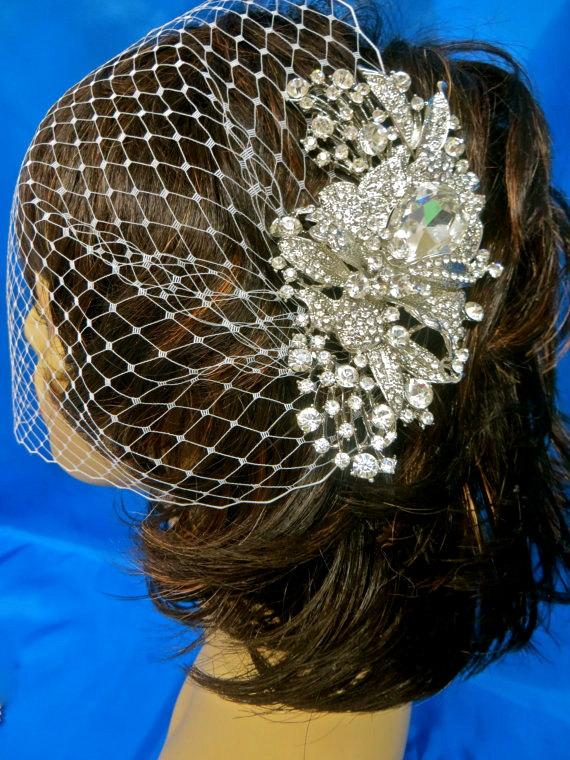Свадьба - Birdcage Bridal Veil, Wedding Blusher Veil, Rhinestone Blusher Veil, Bandeau Birdcage Veil