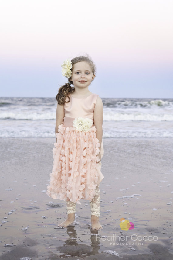 Petal pink blush toddler girls dress vintage toddler for Flower girl dress for beach wedding