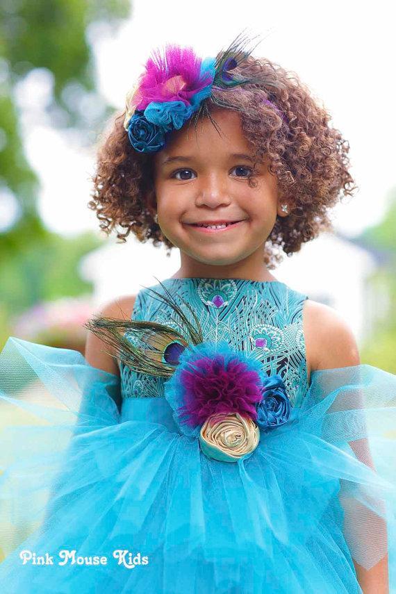 Wedding - Flower Girl Dress, Peacock Blue Dress, Little Girls Dress, Custom Made Dress, Handmade Dress, Toddler Dress, Special Occasion, Pageant Dress