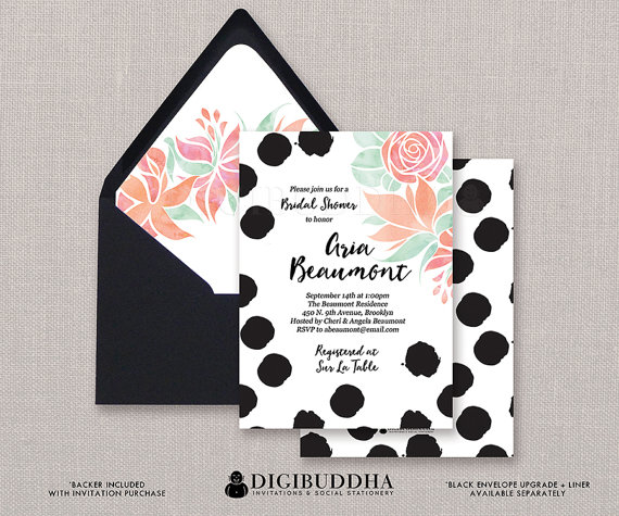 black dots bridal shower invitation watercolor flowers brush strokes polka dot wedding invite free priority shipping or diy printable aria