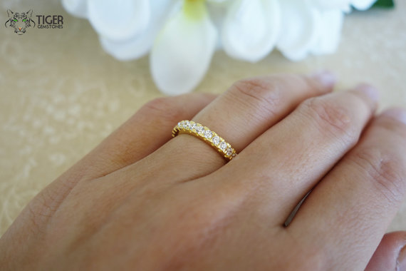 Свадьба - 1 Carat Eternity Band, Wedding Band, Round Engagement Ring, Man Made Diamond Simulants, Promise Ring, Bridal, Sterling Silver & Yellow Gold
