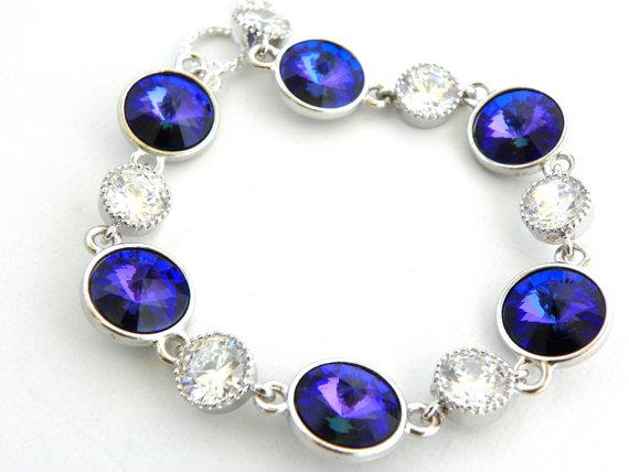 Boda - Purple Wedding Bracelet: Heliotrope Swarovski Bracelet, Purple and Silver Bracelet, Rivoli Bracelet, Purple Bridal Jewelry, Violet Bracelet