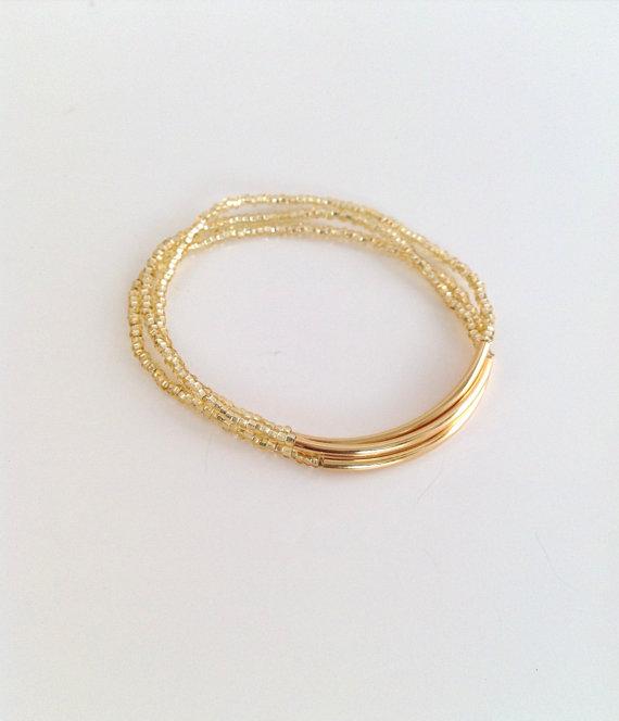 Mariage - Gold bracelets, sparkly bracelets,bridesmaid gift, strechy bracelets, noodle bracelet,bar bracelets, glass seed bead bracelet, minimalist