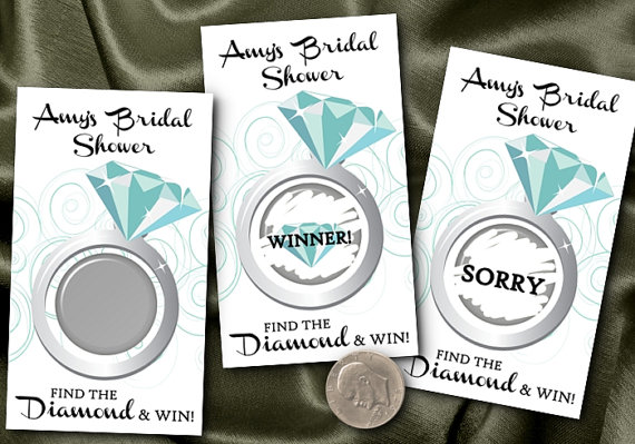 party game scratch off cards aqua blue turquoise diamond ring bridal shower engagement party set of 10 cards