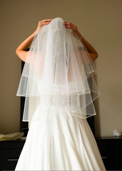 Mariage - Pearl Beaded Wedding Veil Circular Cut Bridal Veil Ivory White Diamond White Elbow Length, Two Tier