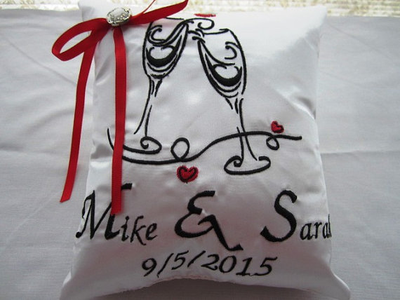 Hochzeit - Ring Bearer Pillow, Machine Embroidery, Custom, Personalized, Wedding Pillow