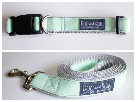 Свадьба - Mint Green Dog Collar with Optional Leash by Dog and Bow