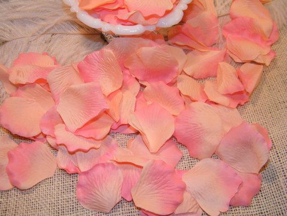 200 Rose Bulk Petals Artifical Petals Peach And Coral Pink Tipped
