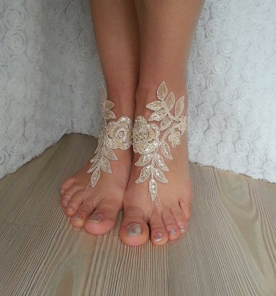 b1b00acada37a Champagne Beach Wedding Barefoot Sandals