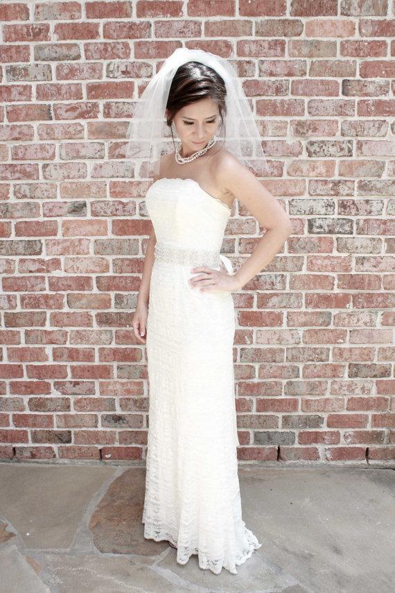 Wedding - Ellie** Two-Tier Shoulder Length Veil, Wedding Veil, Bridal Veil, Veils, Ivory, White, Tulle