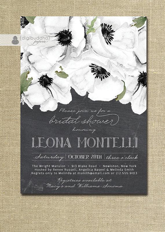Chalkboard floral bridal shower invitation black white for Classic bridal shower invitations