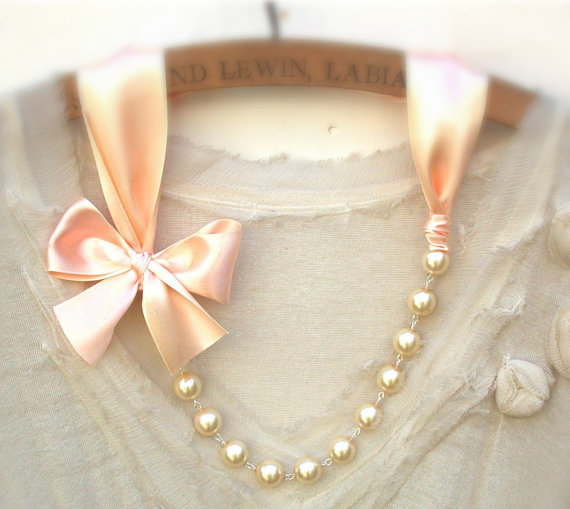Wedding - Peach Necklace Carrie Bradshaw  Inspired Pearl Necklace - Antique Light Peach Color Satin Ribbons. Perfect For  Bride, Wedding, Bridesmaids